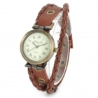 Woman's Retro Cow Split Leather Band Analog Quartz Bracelet Wrist Watch - Brown + Bronze (1 x AG4)