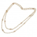 Fashionable Gold-plated Alloy + Pearl Necklace - Golden + White