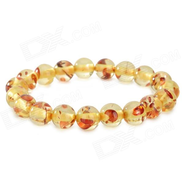 Fashionable Natural Ambler Bracelet - Light Yellow + Vermilion цена