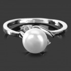 Fashionable Pearl + 925 Silver Ring - White + Silver