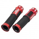 88-HG Durable Aluminum Alloy + Rubber Handle Grip Cover Case w/ Light for Bike - Red + Black (2 PCS)