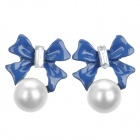 Fashionable Bowknot + Pearl Pendant Earrings - Blue + White (2 PCS)