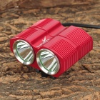 LusteFire BL-2 2 x Cree XM-L T6 1200lm 4-Mode White Bicycle Light - Red (4 x 18650)