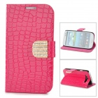 Prptective Flip Open Case w/ Card Slots / Stand for Samsung S3 9300 - Deep Pink