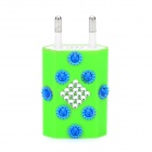 USB Power Adapter / Charger for iPhone 5 - Green + Blue + Silver (100~240V/EU Plug)