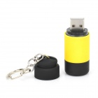 Portable USB Rechargeable LED 25lm White Flashlight - Yellow + Black