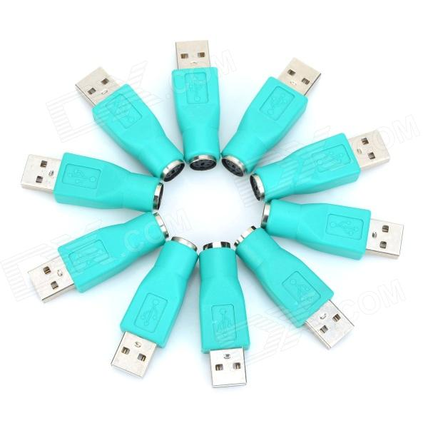 PS2 Female to USB Male Converters Adapters - Green (10 PCS)