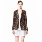 Stylish Leopard Women's Suit - Brown + Black (Size-L)
