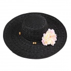 Fashionable Women's Large Brimmed Hat - Black
