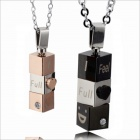 New Hot Fashion Personality Rotating Pendants Couples Necklace GX482  - Gold  + Silver + Black