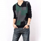 Fashionable Men's Slim Fit Plaid V-neck Sweater - Black + Green (Size-XL)