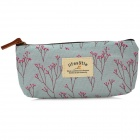 Fashion Rural Foral Canvas Pen Bag - Rose + Light Blue