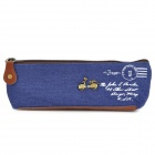 Classic Cute Canvas Zippered Pencil Case - Deep Blue + Coffee