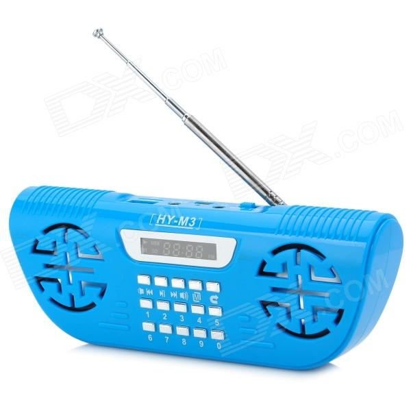 """Portable 1.4"""" LED Rechargeable FM Radio MP3 Player w/ TF Card Slot / USB - Blue + Silver"""
