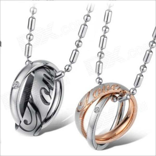 GX730 Stylish Rhinestones 2-Ring Titanium Steel Couple's Necklaces - Golden + Silver + Black (2 PCS) kcchstar the eye of god high quality 316 titanium steel necklaces golden blue