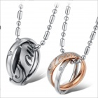 GX730 Stylish Rhinestones 2-Ring Titanium Steel Couple's Necklaces - Golden + Silver + Black (2 PCS)