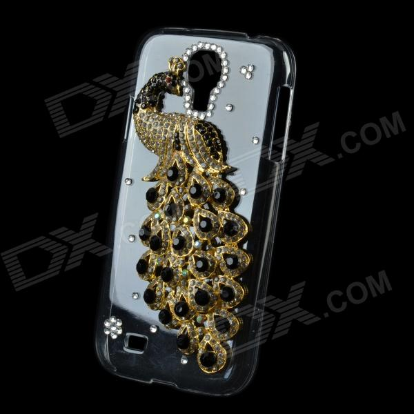 Peacock Pattern DIY Rhinestone Protective Case for Samsung Galaxy S4 - Black + Golden + Transparent