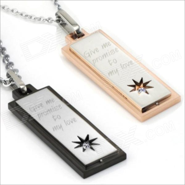 GX508 Rectangular Pendant Couple's Necklace - Golden + Silver + Black (2 PCS) Hollywood Purchase b ad