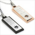 GX508 Rectangular Pendant Couple's Necklace - Golden + Silver + Black (2 PCS)
