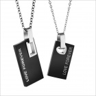 Rectangle Pendants Couples Titanium Steel Necklace -  Black