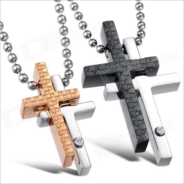 GX781 Cross Rhinestone Pendant Titanium Steel Couple's Necklaces - Golden + Silver + Black (2 PCS) kcchstar the eye of god high quality 316 titanium steel necklaces golden blue