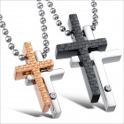 GX781 Cross Rhinestone Pendant Titanium Steel Couple's Necklaces - Golden + Silver + Black (2 PCS)