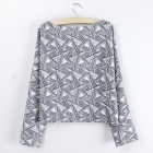 Fashionable Women's Bat-type Short T-shirt - White + Grey (Free Size)