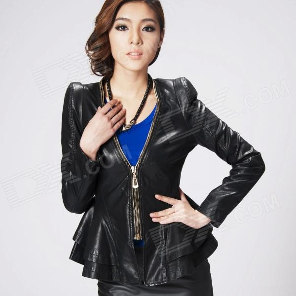 E-LOVE 2013 New Korean Fashion Short Slim Fit Flounced PU Leather Coat for Women - Black (Size-M)