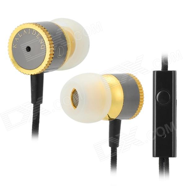 купить KALAIDENG KE400 In-ear Earphone for Iphone / Samsung + More - Golden + Silver Grey (3.5mm / 131cm) недорого