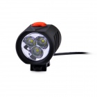 LusteFire P3 3 x CREE XM-L T6 4-Mode 2000LM White Bike Light / Headlamp - Black (4 x 18650)