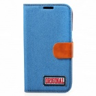Protective PU Leather + Denim + TPU Case Cover Stand for Samsung Galaxy Note 2 N7100 - Light Blue