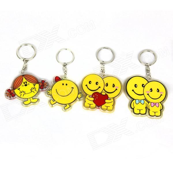 Acrylic Cute Boy & Girl Keychains - Yellow + Red + Pink + Blue (4 PCS) comix durable 50 page 12 stapler w staples blue 3 pcs