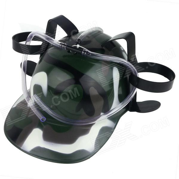 Unique Beer Drinking Hard Hat - Camouflage Green