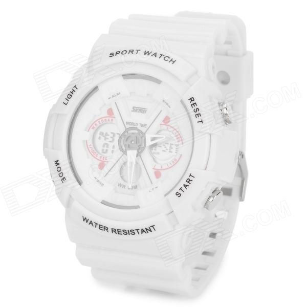 SKMEI DG0966 Outdoor Sports Water Resistant Quartz + Digital Wrist Watch - White (	1 x 2016/1 x 626) настенные часы zero branko zb 0390 герберы