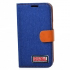 Protective PU Leather + Denim + TPU Case Cover Stand for Samsung Galaxy Note 2 N7100 - Deep Blue