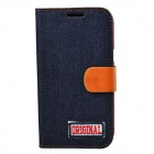 Protective PU Leather + Denim + TPU Case Cover Stand for Samsung Galaxy Note 2 N7100 - Black + Brown