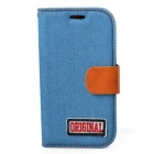 Protective PU Leather + Denim + TPU Case Cover Stand for Samsung Galaxy S3 i9300 - Light Blue