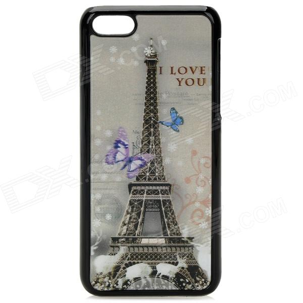 3D Eiffel Tower Pattern Protective ABS+PC Back Case for Iphone 5C - Black + Multicolor cartoon pattern matte protective abs back case for iphone 4 4s deep pink