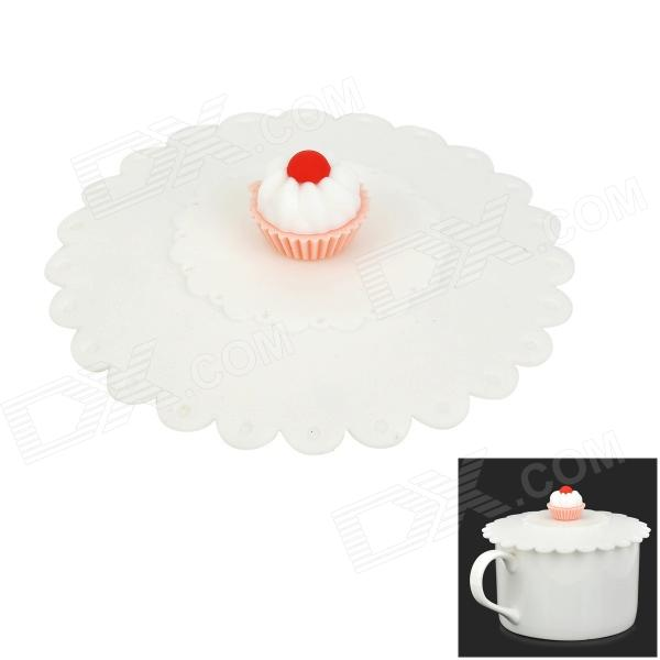 Cute Cake Style Silicone Cup Cover Lid - White