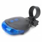 SL-116 Shell Shaped 7-Mode 5-LED Red / Blue Light Bike Laser Tail Lamp - Blue + Black (2 x AAA)