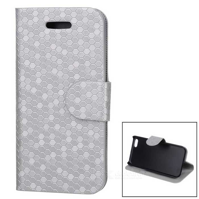 Snakeskin Pattern Protective PU + Plastic Flip Open Case w/ Card Slots for Iphone 5C - Silver solid color litchi pattern wallet style front buckle flip pu leather case with card slots for doogee x10