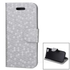 Snakeskin Pattern Protective PU + Plastic Flip Open Case w/ Card Slots for Iphone 5C - Silver