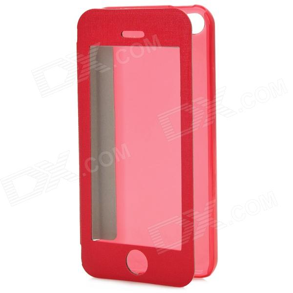 Protective PU + Plastic Flip Open Case w/ Display Window for Iphone 5C - Deep Pink usams ip4sxk04 protective flip open case w display window for iphone 4 4s deep pink