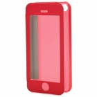 Protective PU + Plastic Flip Open Case w/ Display Window for Iphone 5C - Deep Pink