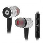 BIDENUO G800 In-ear Earphone for Smart Cell Phone - Black + Silver (3.5mm / 126cm-cable)