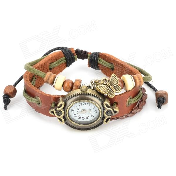 Retro Cow Split Leather Band Round Dial Analog Bracelet Wrist Watch - Brown + Bronze (1 x AG4) fashion cupid ornament split leather bracelet coffee brown multi color