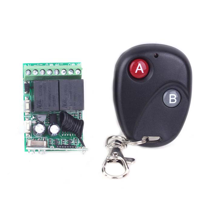 ZnDIY-BRY RC-12 2-CH Remote Control Switch Board + 2-Button Remote Control - Black + Green touch door release switch for electric access control dc 12v