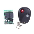ZnDIY-BRY RC-12 2-CH Remote Control Switch Board + 2-Button Remote Control - Black + Green