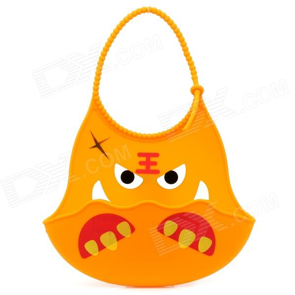 GEL-43 Cartoon Tiger Pattern Non-toxic Silicone Feeding Food Baby Bib - Orange