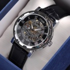 MCE 01-0060041 Fashion Leather Band Analog Semi-automatic Mechanical Wrist Watch - Silver